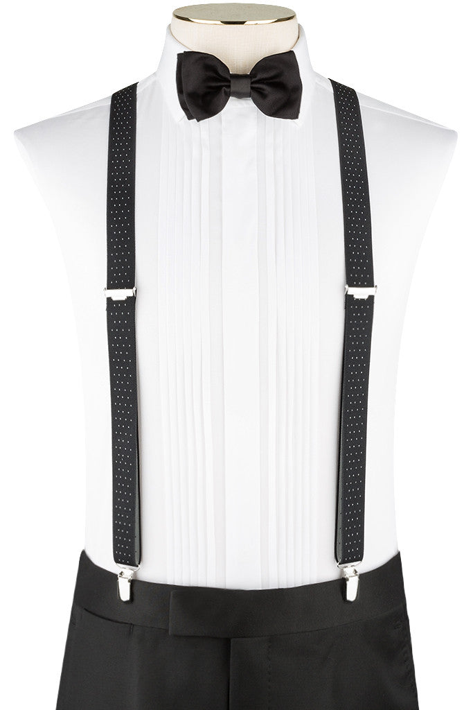 Black Pindot Suspenders With Sliver Clip