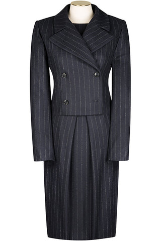 Navy Chalk Stripe Wool Flannel Jacket