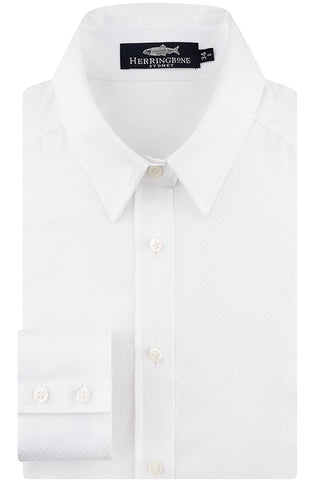 White Jaquard Dot Shirt