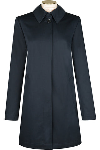 Navy Cotton Twill Coat