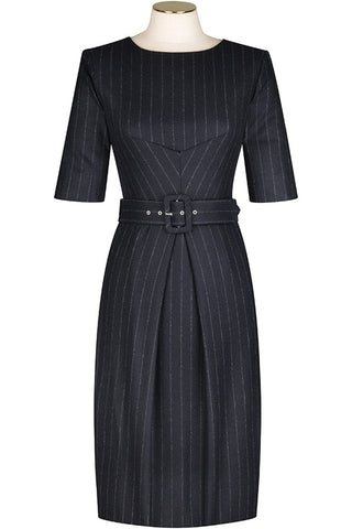 Navy Chalk Stripe Wool Flannel Dress