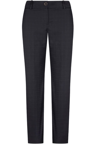 Navy Wool Self Check Pants
