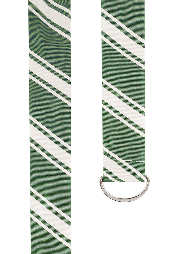 Green Twill with Multi Stripe Silk Belt