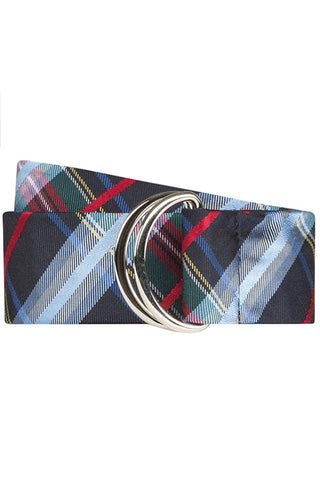 Navy Plaid Silk Belt