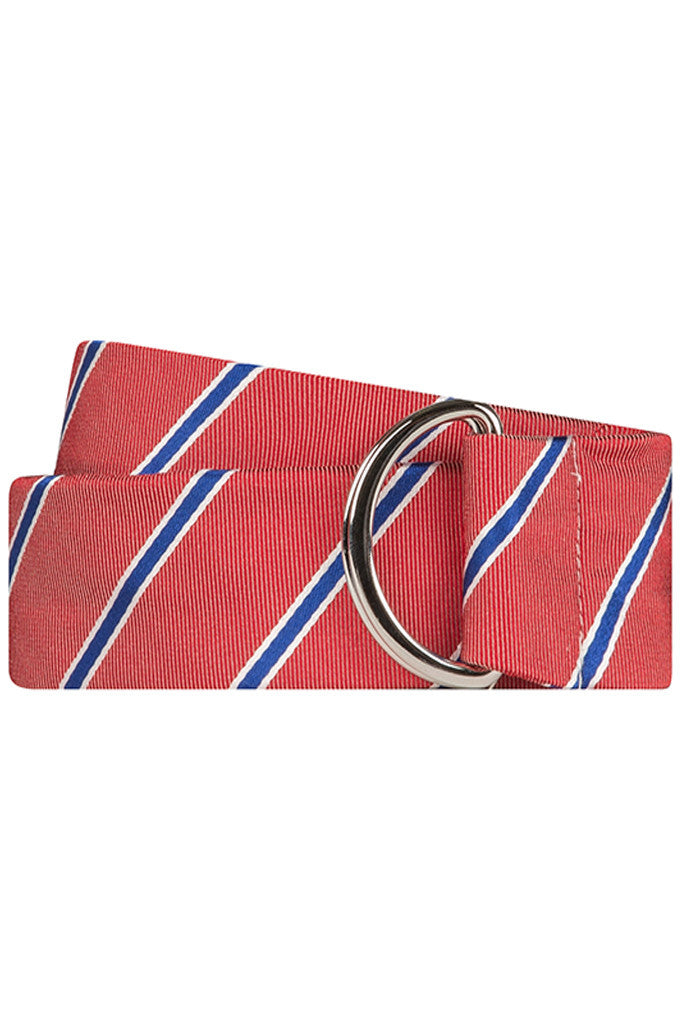 Red Twill with Navy and White Stripe Silk Belt