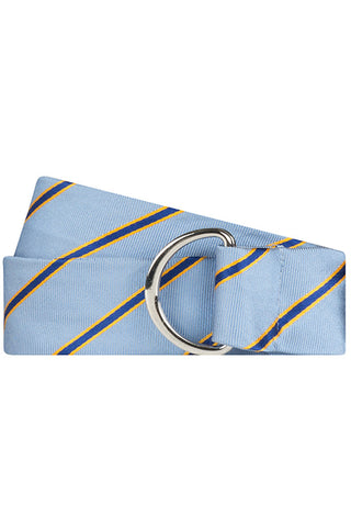 Light Blue Twill with Blue and Yellow Stripe Silk Belt