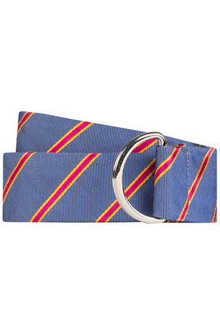 Blue Twill with Magenta and Orange Stripe Silk Belt
