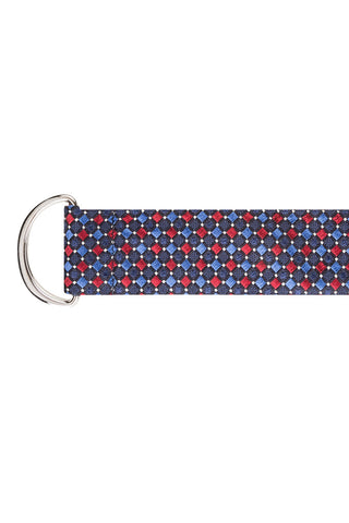 Navy, Blue and Red Square Twill Silk Belt