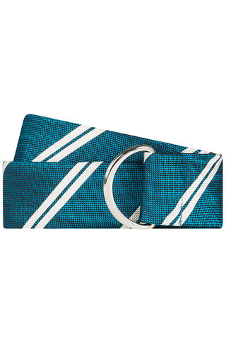 Teal Twill with Double Stripe Silk Belt