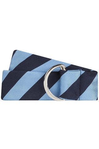 Navy and Light Blue Twill Bold Stripe Silk Belt