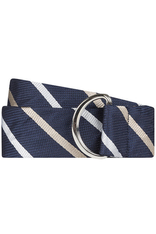Navy Twill with White Stripe Silk Belt