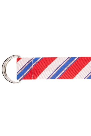 Red and Pink Bold Stripe with Blue, Purple and White Multi Stripe Silk Belt