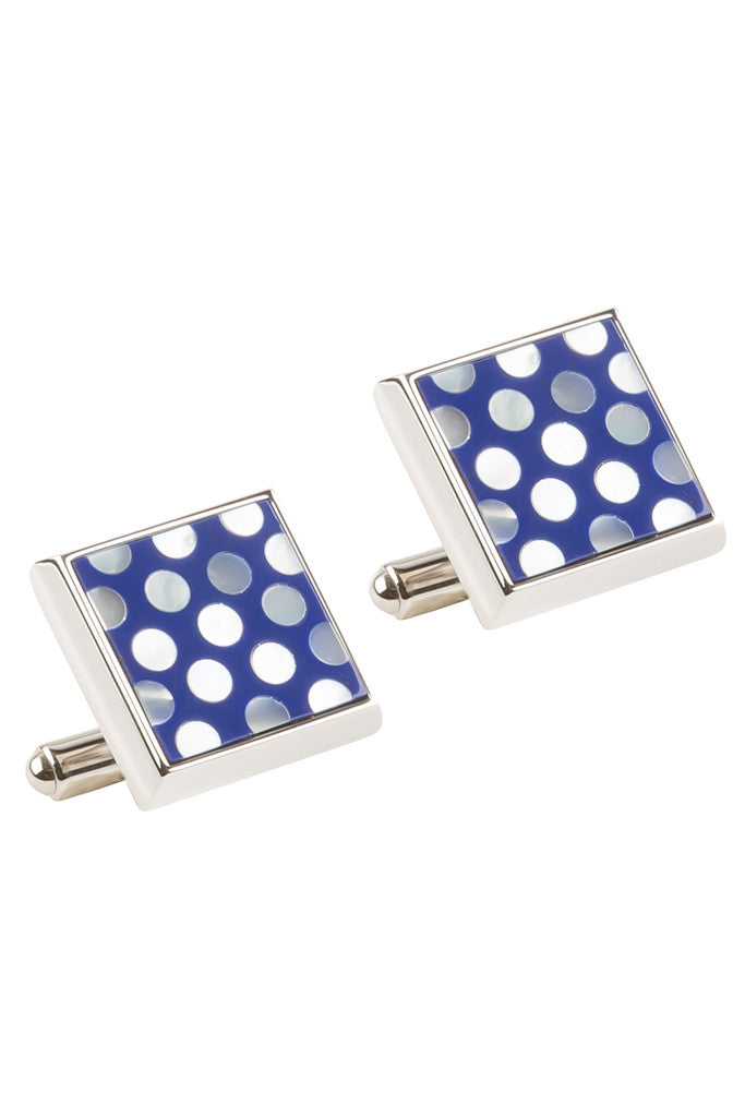 Blue Square with Mother of Pearl Circle Cufflinks