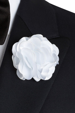 White Silk Flower Lapel PIn
