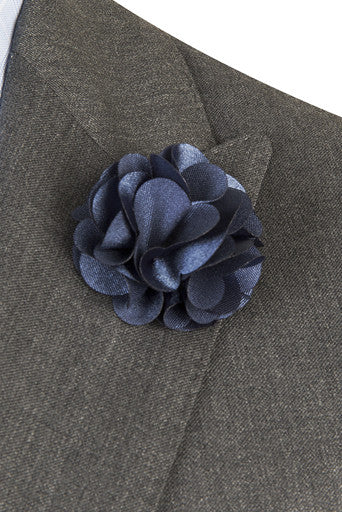 Indigo Blue Silk FLower PIn