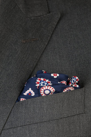 Ruby and Ink Medallion Pocket Square
