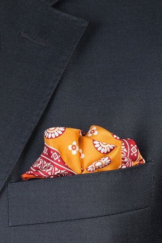 Amber and Copper Medallion Pocket Square