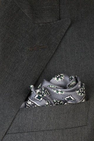 Sterling and Forest Medallion Pocket Square