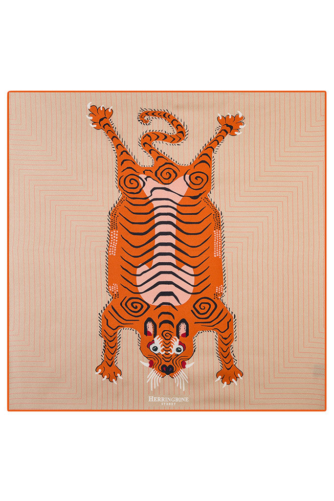 Tangerine Tiger Pocket Square