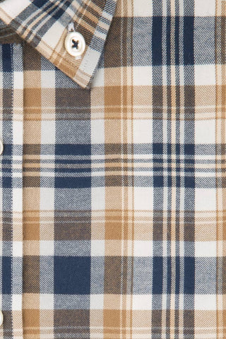 Camel and Navy Flannel Plaid
