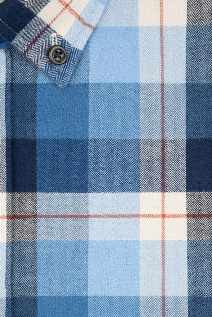 Blue and Navy Herringbone with Brown Check