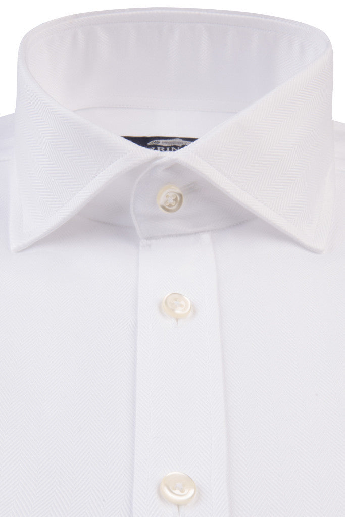 White Herringbone with Classic Collar