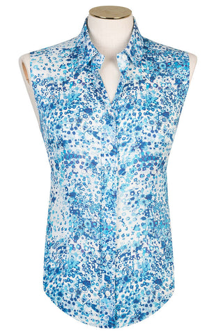 Cobalt Flower Sleeveless Shirt