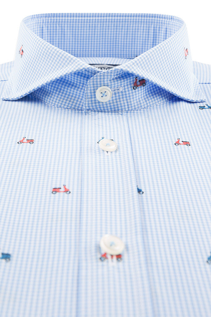 Blue Gingham with Embroidered Scooter Detail