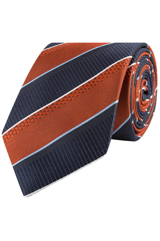 Navy Twill With Orange Bold Stripe