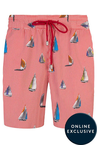 Red and White Stripe with Boat Motif Swim Shorts