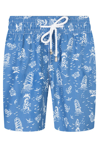 Blue with Boat and Mermaid Motif Swim Shorts