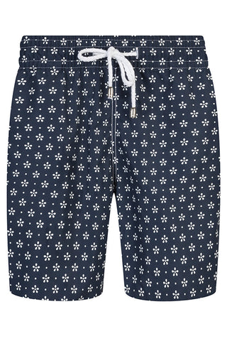 Blue with White Floral Swim Shorts
