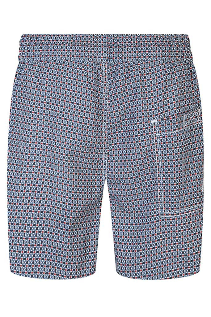 Navy, Blue and Red Floral Motif Swim Shorts