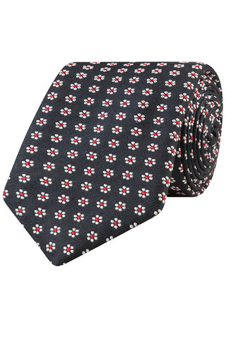 Black with White and Red Floral