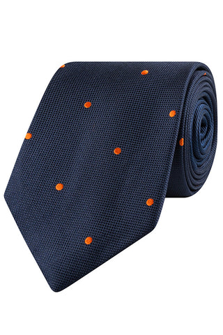 Tangerine and Navy Dot