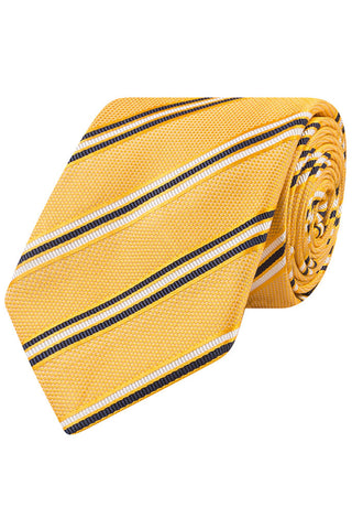 Yellow with Navy and White Stripe