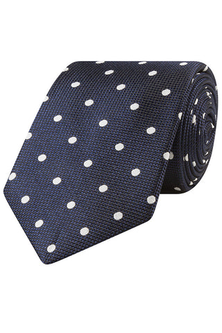 Navy with Bold White Dots