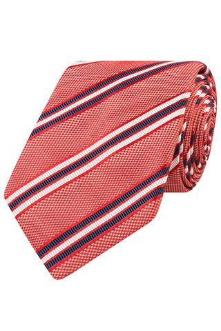 Red Twill with Navy and White Stripe