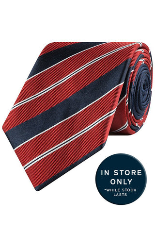 Lava and Navy Club Stripe