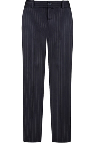Navy Wool Pinstripe Pants