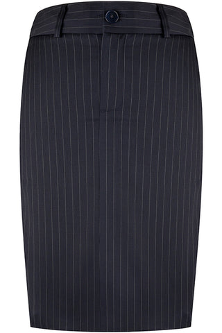 Navy Wool Pinstripe Skirt