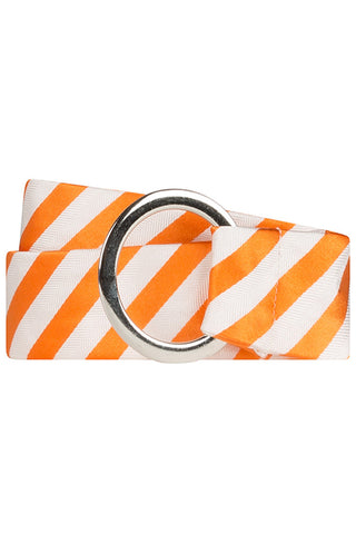 Orange and White Twill Stripe Silk Belt