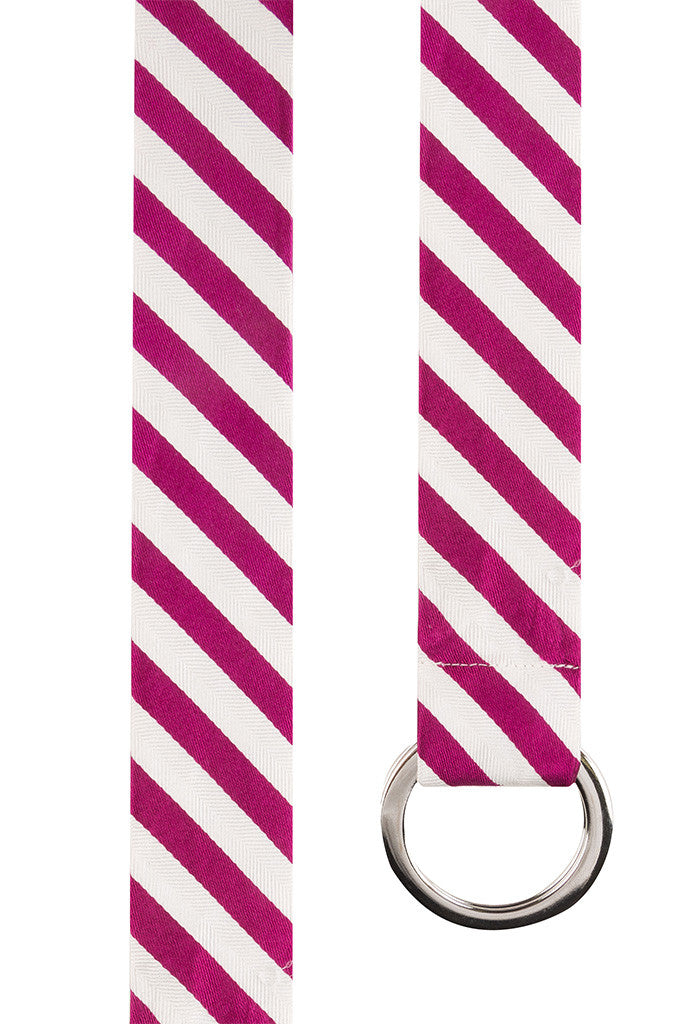 Magenta and White Twill Stripe Silk Belt