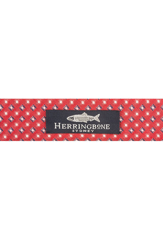 Red Twill with Navy and White Square Motif Silk Belt