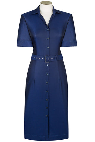 Navy Luxury Twill Shirt Dress