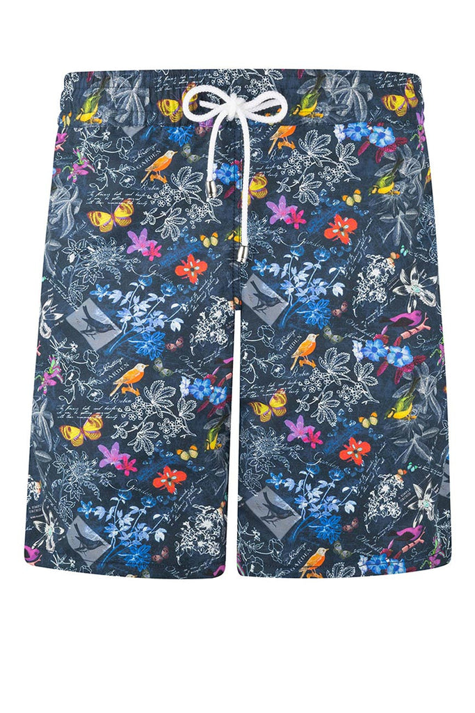 Black Tropical Pattern Swim Shorts