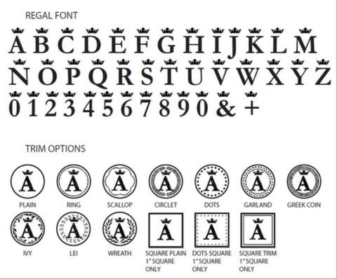 regal initial wax seal stamp styles letterseals.com