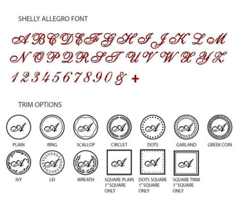 shelly allegro font initial wax seal stamp styles letterseals.com