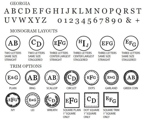 Georgia Font Monogram wax seal stamp styles letterseals.com