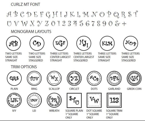 curlz mt monogram wax seal stamp styles letterseals.com